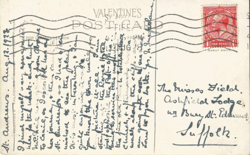 Back of postcard of The Pends, St Andrews